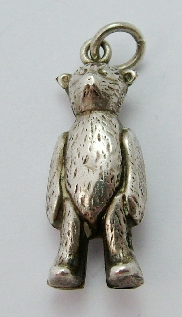 Antique Edwardian c1910 Silver Puffed Bear Charm Antique Charm - Sandy's Vintage Charms