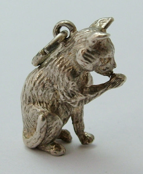 Vintage 1970's Solid Silver Sitting Cat Charm Silver Charm - Sandy's Vintage Charms