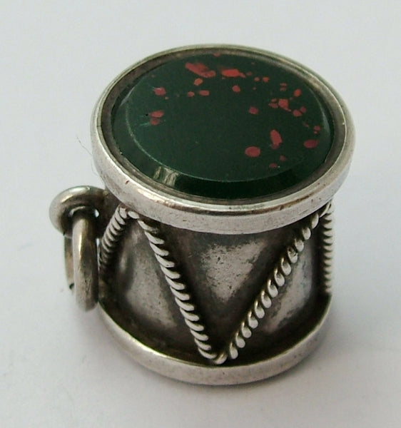 Antique Victorian c1900 Silver Drum Double Ended Fob Seal Charm with Bloodstone Matrix Antique Charm - Sandy's Vintage Charms