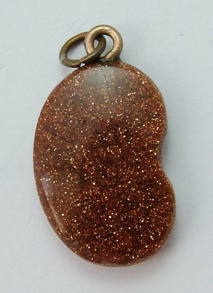 Antique Edwardian Goldstone Bean Charm With Gold Plated Bale Victorian Charm - Sandy's Vintage Charms