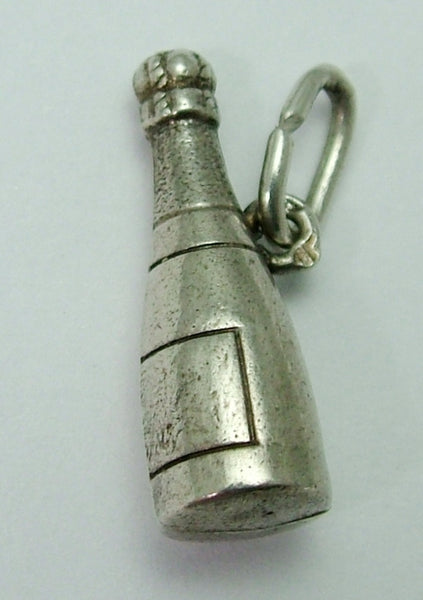 Vintage 1950's Silver Puffed Champagne Bottle Charm 1920s-1950s Charm - Sandy's Vintage Charms