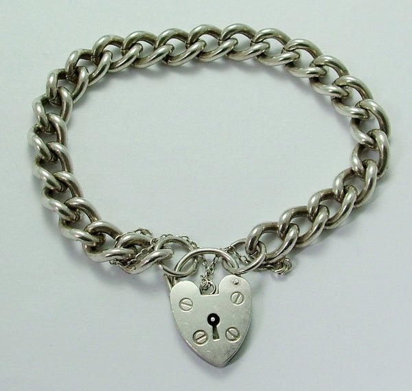 Vintage 1970's English Silver Padlock Bracelet 7.25 Inches Long & 30.2g Bracelet - Sandy's Vintage Charms