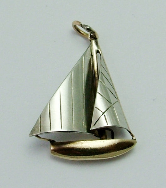 Vintage 1930's Two Colour 9ct Gold Sailing Yacht Charm