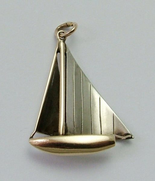 Vintage 1930's Two Colour 9ct Gold Sailing Yacht Charm Gold Charm - Sandy's Vintage Charms