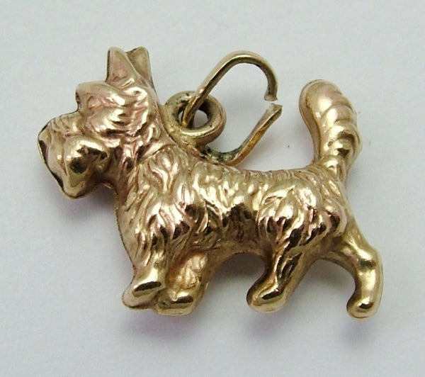 Vintage 1960's 9ct Gold Puffed Scottie Dog Charm Gold Charm - Sandy's Vintage Charms