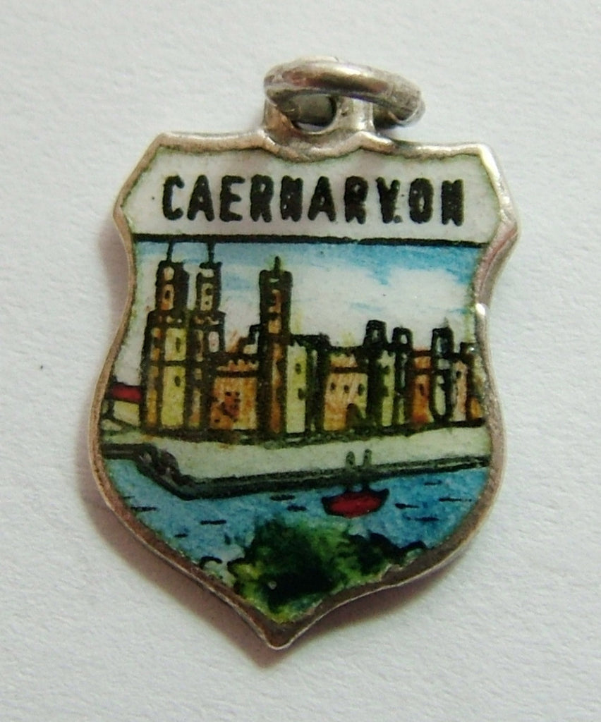 1960's Silver & Enamel Shield Charm for CAERNARVON in Wales Shield Charm - Sandy's Vintage Charms