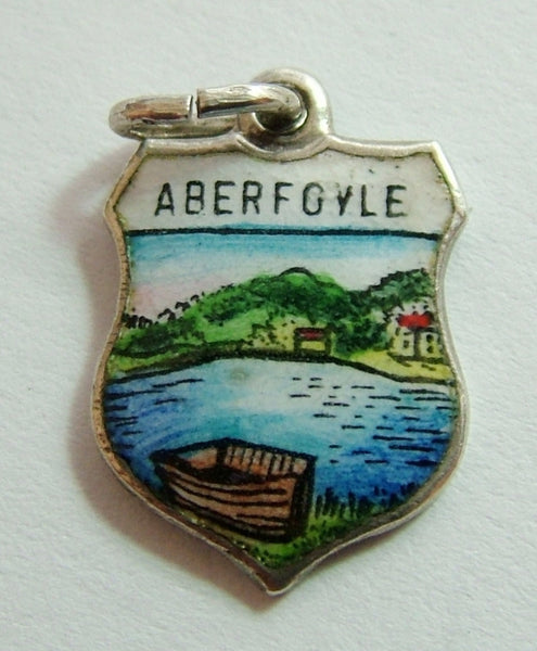 1960's Silver & Enamel Shield Charm for ABERFOYLE in Scotland Shield Charm - Sandy's Vintage Charms