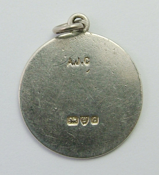 Antique Edwardian Silver Engraved Souvenir Queens Palace Rhyl Disc Charm HM 1903 Antique Charm - Sandy's Vintage Charms