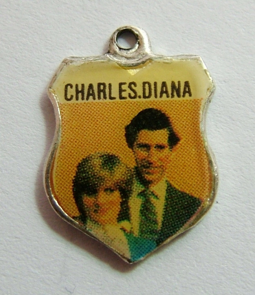 1980's Silver & Enamel Shield Charm for CHARLES & DIANA ROYAL WEDDING Shield Charm - Sandy's Vintage Charms