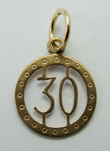 "Small Vintage Art Deco 1920's/30's Solid 9ct Gold Number ""30"" Disc Charm Gold Charm - Sandy's Vintage Charms"