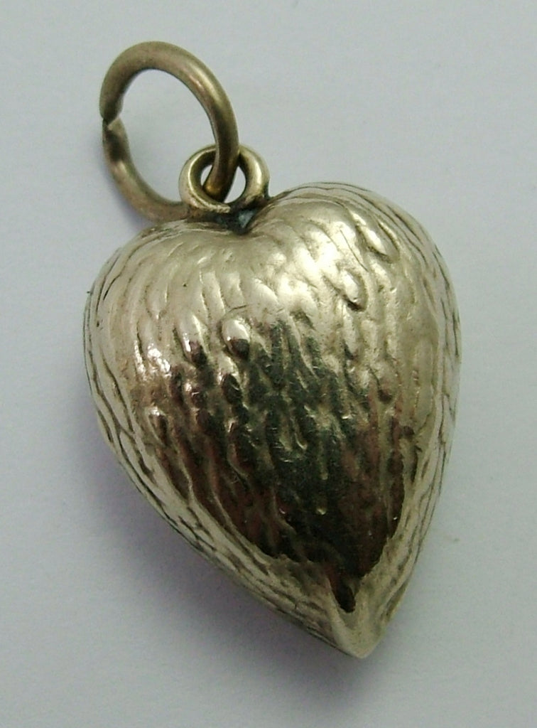 Antique Edwardian Metal Opening Strawberry Heart Locket Charm or Pendant Antique Charm - Sandy's Vintage Charms