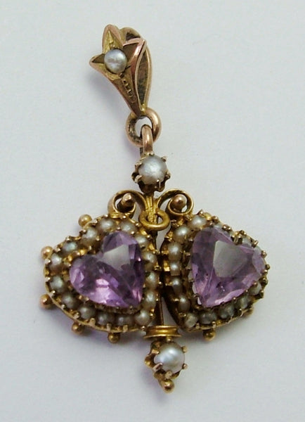 Antique Victorian 9ct Gold Seed Pearl & Double Faceted Amethyst Heart Charm/Pendant