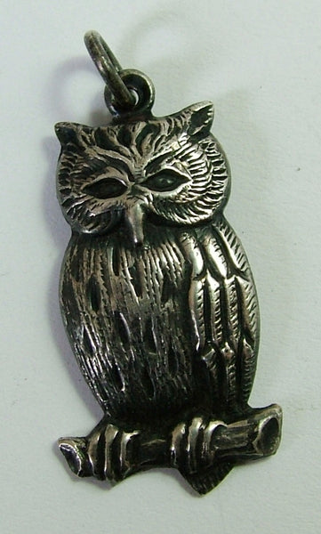 Antique Edwardian c1910 Pressed Silver Owl Charm Antique Charm - Sandy's Vintage Charms