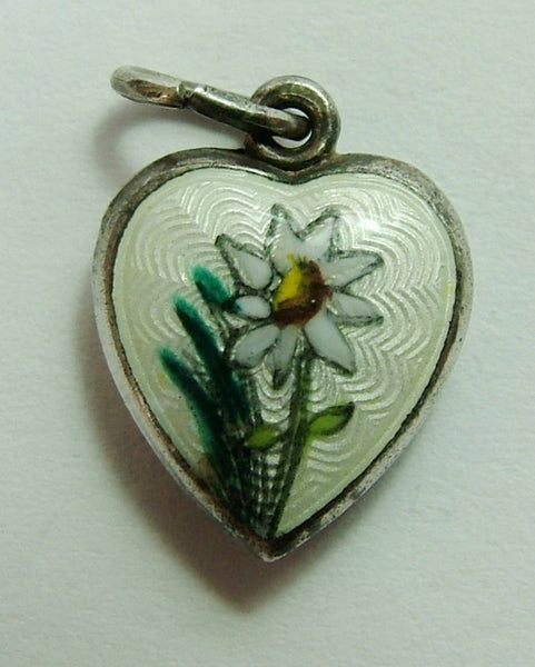 1950's Silver & Guilloche Enamel Puffy Heart Charm with Edelweiss Enamel Charm - Sandy's Vintage Charms