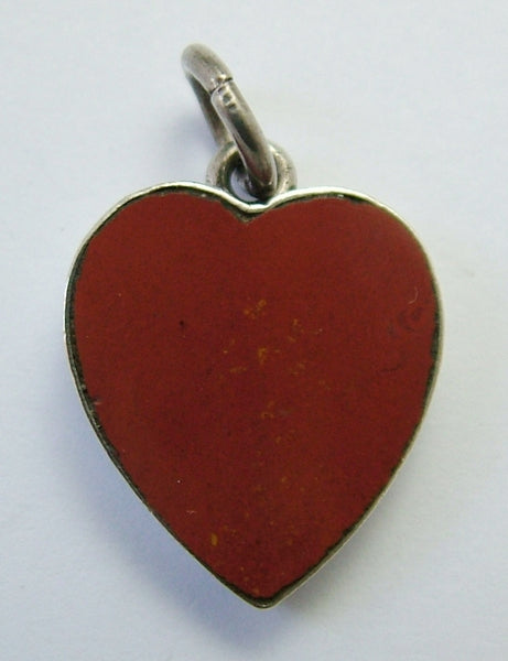 Antique Edwardian Silver & Agate Heart Charm HM 1906