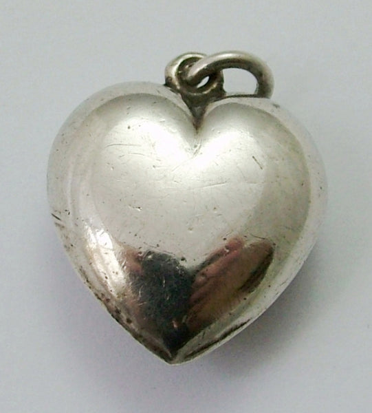 Antique Victorian Silver Puffy Heart Charm set with Connemara Marble Antique Charm - Sandy's Vintage Charms
