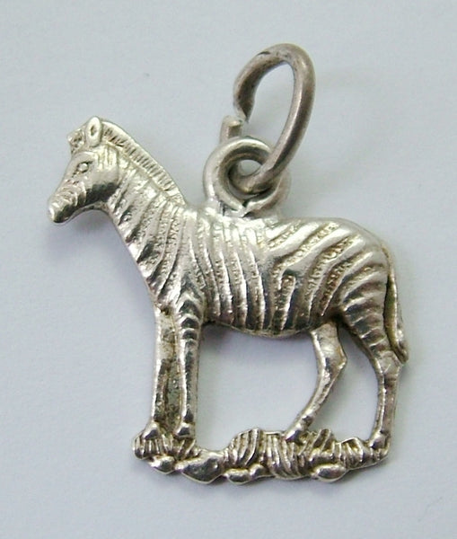 Vintage 1950's Flat Backed Solid Silver Zebra Charm Silver Charm - Sandy's Vintage Charms