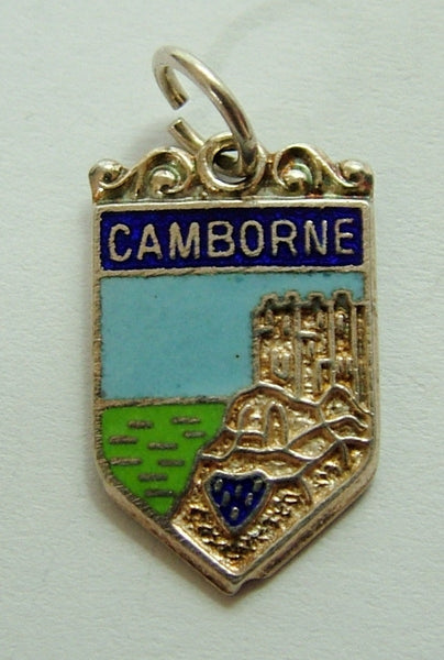 1960's Silver & Enamel Shield Charm for CAMBORNE Shield Charm - Sandy's Vintage Charms