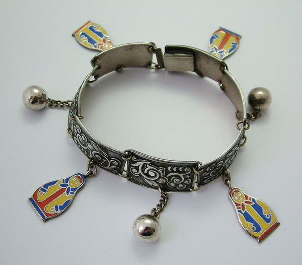 Vintage 1930's Russian Silver Plated Charm Bracelet with Enamel Russian Doll Charms