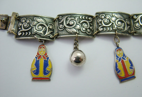 Vintage 1930's Russian Silver Plated Charm Bracelet with Enamel Russian Doll Charms 1920s-1950s Charm - Sandy's Vintage Charms
