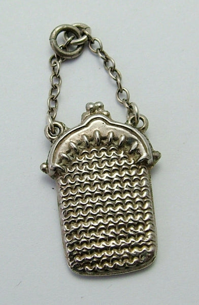 Antique Edwardian c1910 Silver Puffed Purse Charm with Chain Strap