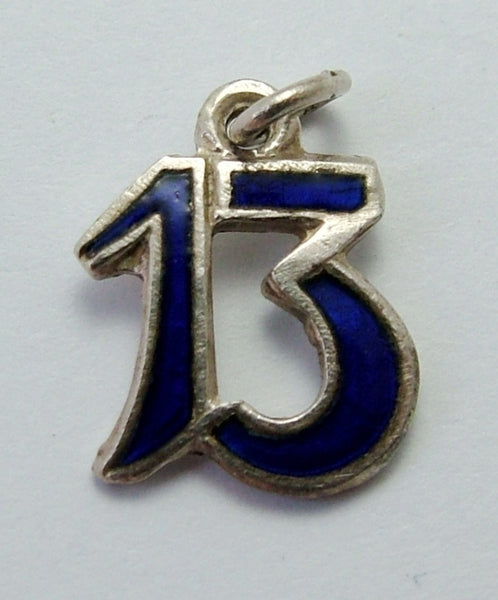 Small Vintage 1930's Silver Plated & Blue Enamel Lucky Number 13 Charm Enamel Charm - Sandy's Vintage Charms