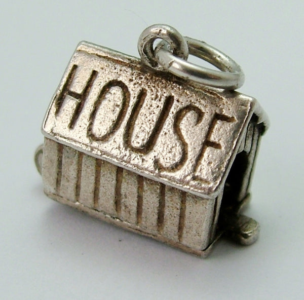 Vintage 1960's Silver Dog Kennel Charm Opens to Drunk Man Inside