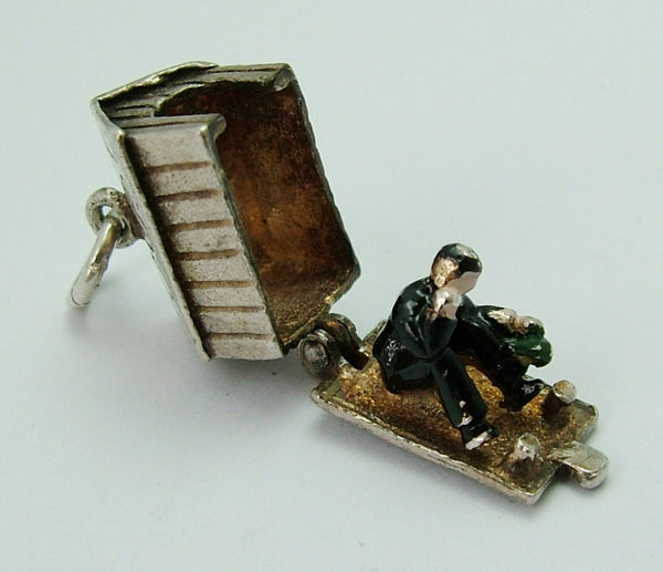 Vintage 1960's Silver Dog Kennel Charm Opens to Drunk Man Inside Silver Charm - Sandy's Vintage Charms