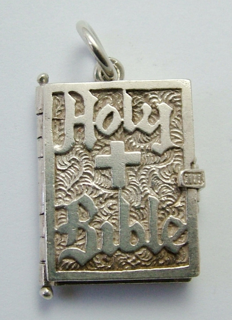 Large Vintage 1960's Silver Opening Bible Charm Silver Pages Inside Silver Charm - Sandy's Vintage Charms