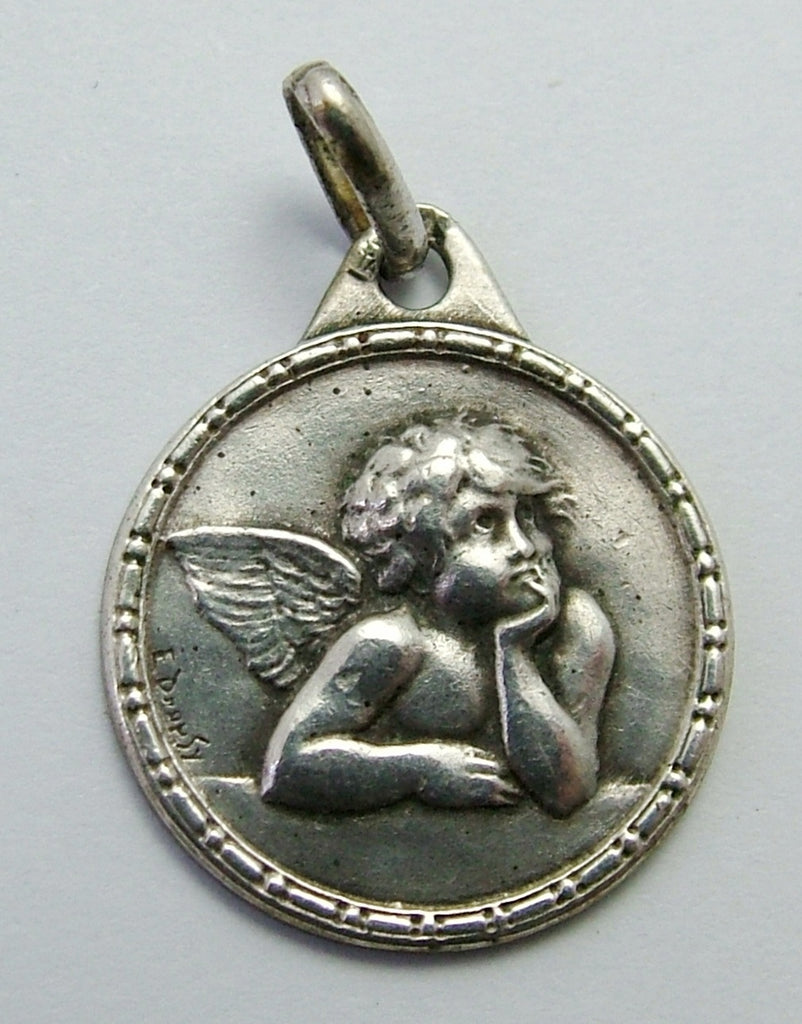 Antique Victorian c1890 French Art Nouveau Silver Raphael Angel Charm by Emile Dropsy Antique Charm - Sandy's Vintage Charms