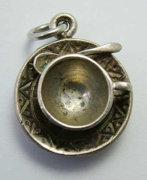 Vintage 1970's Solid Silver Cup, Saucer & Spoon Charm Silver Charm - Sandy's Vintage Charms