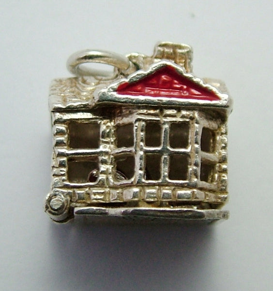Vintage 1960's Silver House Charm Opens to Painted Furniture Inside Silver Charm - Sandy's Vintage Charms
