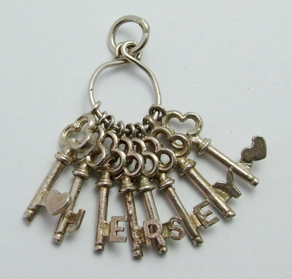 Vintage 1970's Silver Bunch of Keys Charm that Spell JERSEY Silver Charm - Sandy's Vintage Charms