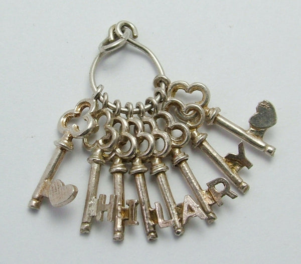 Vintage 1970's Silver Bunch of Keys Charm that Spell HILARY Silver Charm - Sandy's Vintage Charms