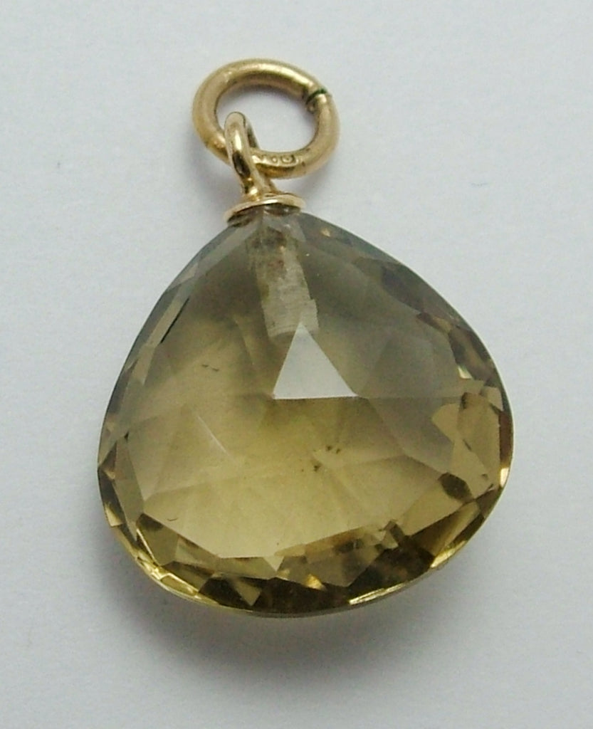 Vintage 1990's 9ct Gold & Faceted Quartz Teardrop Pendant or Charm Gold Charm - Sandy's Vintage Charms