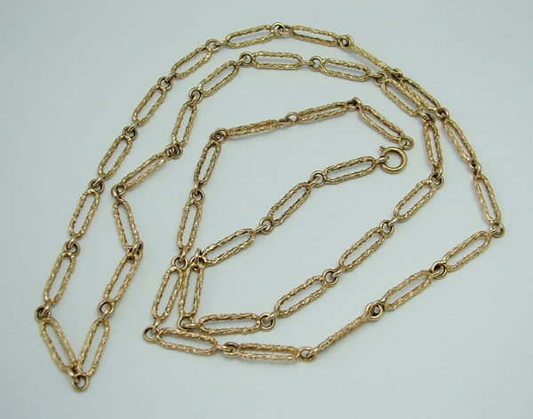 Long Vintage 1970's 9ct Gold Necklace Chain with Patterned Links - 30 inch Bracelet - Sandy's Vintage Charms