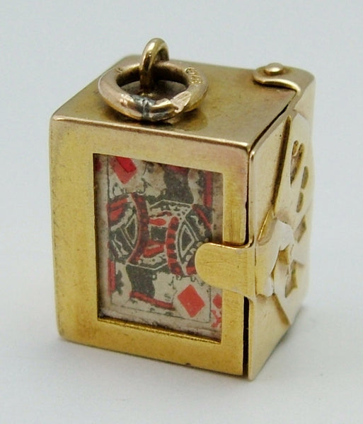 Vintage 1950's 9ct Gold Opening Box Charm with Paper Playing Cards Inside Gold Charm - Sandy's Vintage Charms