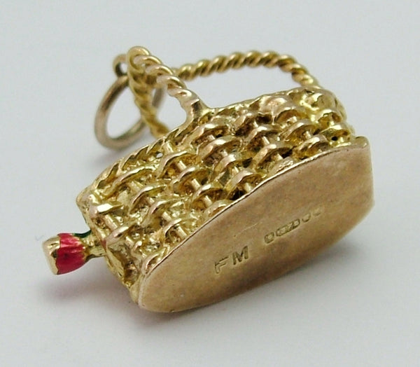 Vintage 1960's 9ct Gold Wine Carrier Charm with Enamel Bottle of Burgundy Inside Gold Charm - Sandy's Vintage Charms