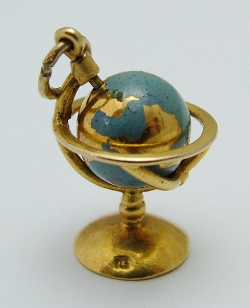 Vintage 1950's 9ct Gold & Blue Enamel Painted Moving Globe Charm