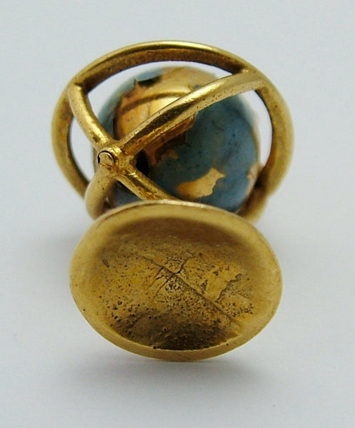 Vintage 1950's 9ct Gold & Blue Enamel Painted Moving Globe Charm Gold Charm - Sandy's Vintage Charms