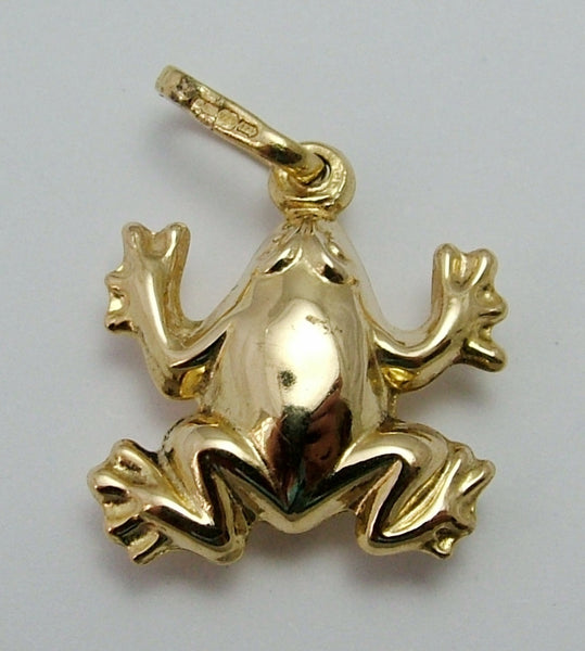 Vintage 1980's 9ct Gold Puffed Frog Charm Gold Charm - Sandy's Vintage Charms
