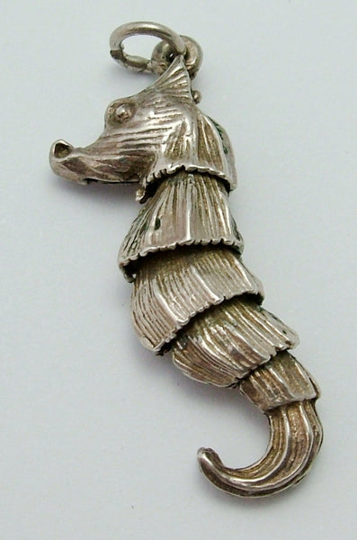 Large Vintage 1970's Silver Articulated Seahorse Charm Silver Charm - Sandy's Vintage Charms