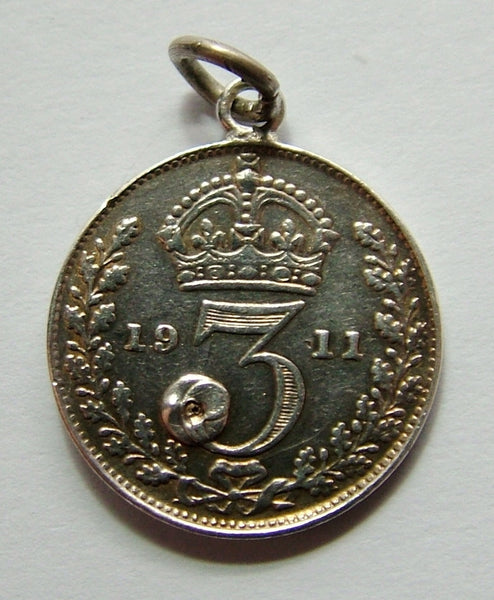 Antique George V 1911 Silver Gem Set Love Token Coin Charm Love Token - Sandy's Vintage Charms