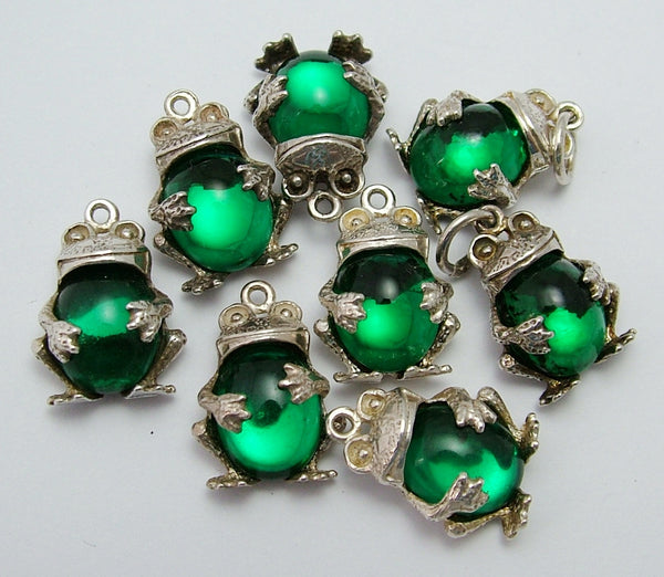 Vintage 1970's Silver & Green Crystal Frog Charm Silver Charm - Sandy's Vintage Charms