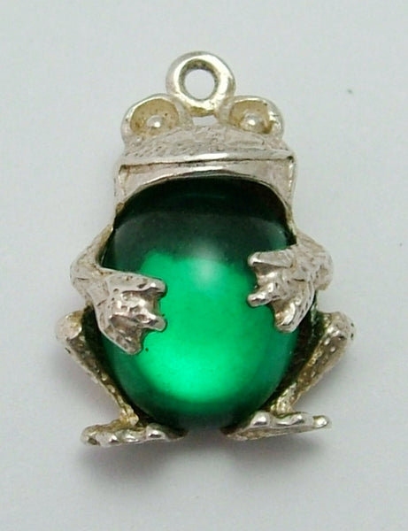 Vintage 1970's Silver & Green Crystal Frog Charm