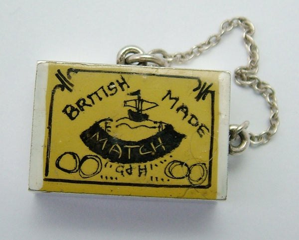 Vintage 1960's Silver & Enamel Painted Opening Match Box Charm Matches Inside Silver Charm - Sandy's Vintage Charms