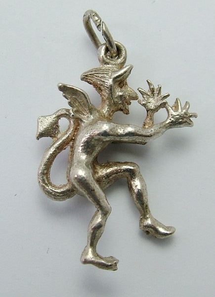 Vintage 1970's Solid Silver Charm of The Devil Thumbing His Nose