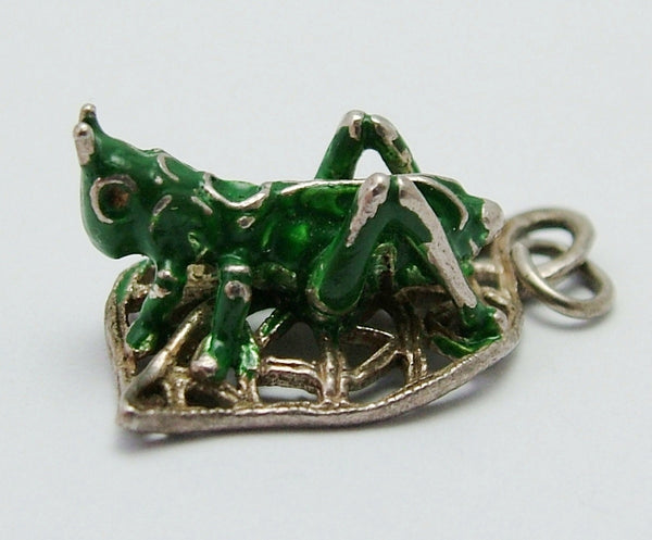 Vintage 1960's Silver Leaf Charm with Green Enamel Painted Grasshopper