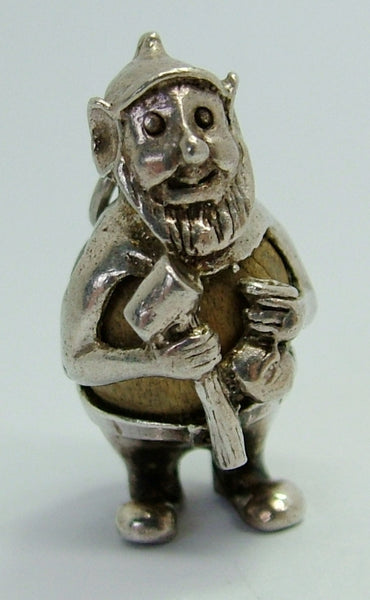1960's Silver Touch Wood Gnome Charm Silver Charm - Sandy's Vintage Charms