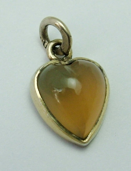 Small Antique c1915 Swedish Silver Gilt & Blue Agate Heart Charm Antique Charm - Sandy's Vintage Charms